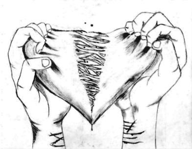 Image result for hands ripping heart drawing